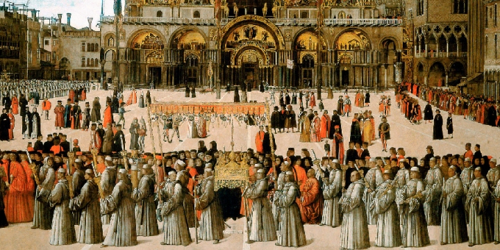 Procession in St. Mark's Square by Gentile Bellini, 1496. Detail. Gallerie dell'Accademia, Venice.